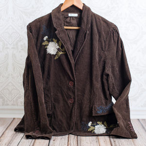 JOHNNY WAS  Corduory Embroidered Brown Blazer